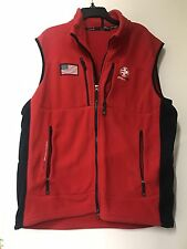 RLX RALPH LAUREN 100% POLYESTER ZIP VEST RED BLACK NAVY BLUE USA FLAG MENS XXL