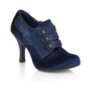 Ruby Shoo NEW Octavia navy blue velvet faux suede high heel shoes boots UK 3-9