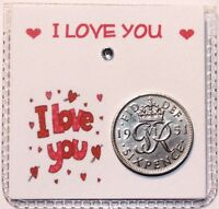 Lucky sixpence coin keepsake I Love You, Valentines Gift etc
