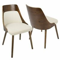 OPEN BOX Anabelle Mid-Century Modern Dining/Accent Chair in Walnut and Cream ...