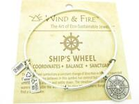 Wind and Fire Ship's Wheel Silver Charm Wire Bangle Stackable Bracelet USA Gift