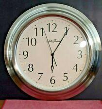 "Seth Thomas Quartz Battery Operated Wall Clock XL CLASSIC CHROME FRAME! ~ 16"""