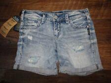 NWT SILVER Jeans Boyfriend Mid Short Denim Shorts size 27 Blue NEW $79