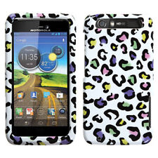 For AT&T Motorola Atrix HD MB886 HARD Case Phone Cover White Rainbow Leopard