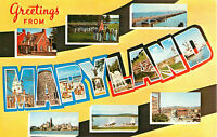 Postcard Greetings From Maryland, Old Line State, Free State