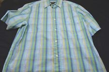 Eddie Bauer Blue Green Yellow White Plaid Cotton Nylon Medium Men's Shirt