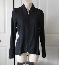 HIGH ENERGY Women's Black Bright Pink Hook Zip Front Performance Jacket Size M