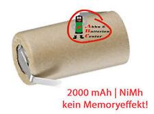 Akku Einzelzelle Sub-C NIMH 2000mAh 1.2V   im Pappmantel mit Z Lötfahne