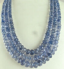 568 Cts Natural Iolite Facetted Round Gemstone Beads Necklace