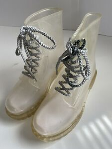 Dirty Laundry Women Rain Vinyl Combat Rubber Boots Sz 7 See Through Transparent