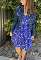 REVIEW Fit & Flare Blue & White Floral A Line Dress Size 6