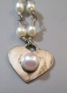Sterling Silver Heart Pearl Artisan Wire Wrap Hand Crafted Necklace 19""