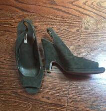 Miu Miu Green Suede Peep Toe Wedge Shoes 38