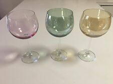 """BALLOON WINE GLASSES IN PASTEL COLORS - MADE IN POLAND - 8-1/2"""" H - 3 TOTAL"""