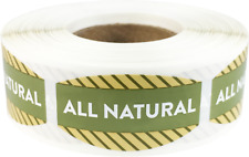 All Natural Grocery Market Stickers, 0.75 x 1.375 Inches, 500 Labels Total