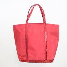 Vanessa Bruno Small Cabas Tote Bag Red Canvas Sequins Purse Handbag Made France