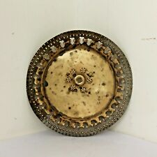 Old 1950's Vintage Beautiful Handmade Floral Design Cast Brass Plate / Tray #617
