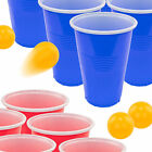 Beer Pong Full Set - 11 Red 11 Blue Cups 4 Balls - College Party Drinking Game