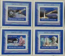 Satellites Sputnik SET 4 SHEETS DELUXE Togo 2010 Mi.3794-97 #TG10405d