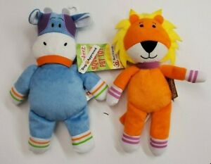 Monkeez & Friends Squeaking And Crinkling Plush Dog Toys Cow AND Lion (Set of 2)