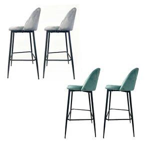 2 x Snug Bar Stools Seats, velvet, black legs, grey/ mint, RRP 129.99, UK, Pair