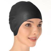 Swimming Cap Waterproof Silicone Swim Pool Hat Soft Adult Men Long Hair Women