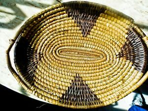 Papago yucca, devil's claw hand woven basket tray handles Mary Pablo  Sarfiero