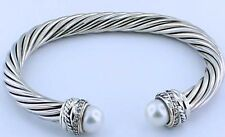 David Yurman Cable Classic Crossover Bracelet with Pearls and Diamonds, 7mm
