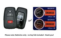 (2) Battery replacement for Toyota Prius remote key fobs CR2032