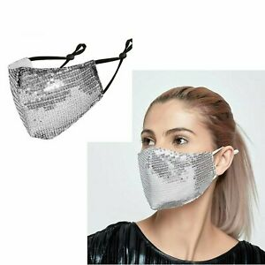 Reusable Washable Fashion Face Mask Sequin Glitter Bling Mouth Nose Crystal