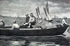 Winslow Homer 1873 GLOUCESTER HARBOR Boys in Rowboat Matted Antique Engraving