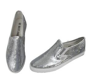 Damen Sneaker Slipper Silber mit glitzernden Pailletten Halbschuhe Größe 38