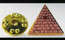 ILLUMINATI CARD GAME OFFICIAL PIN *PINK W/RED ALL SEEING EYE-ENTRAPMENT*