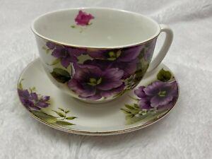 Grace's Teaware Large Tea Cup & Saucer Purple White Floral Gold Trim