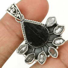 Black Tourmaline Rough 925 Sterling Silver Pendant Jewelry SP219735