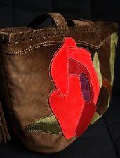 NWT COACH MEDIUM SOHO RED SUEDE FLORAL POPPY FOR PEACE TOTE BAG PURSE 9258 RARE