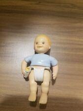 1998 FISHER PRICE Loving Family Dollhouse BABY BOY TWIN in BLUE w/ DIAPER BOTTLE