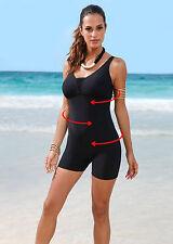 Badekleid Jumpsuit Schwimmanzug mit Bein Badeanzug schwarz Gr.50 100 D