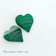Personalised 25mm Frosted GreenAcrylic Heart Wedding table Decorations, Favours