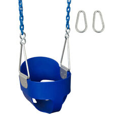 Swing Set Stuff Highback Full Bucket Seat Blue With 5 1/2 Ft Coated Chain 0051