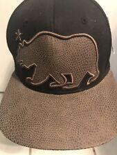 Pit Bull Mens  California Cali Bear Black / Brown Snakeskin  Snapback Hat NWT
