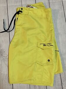 Men's Ron Jon Surf Shop Boardshorts Swim Trunks Size 32 Canary Yellow VG+
