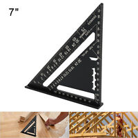 Black 7'' Aluminum Alloy Speed Square Quick Roofing Rafter Triangle Ruler Guide.