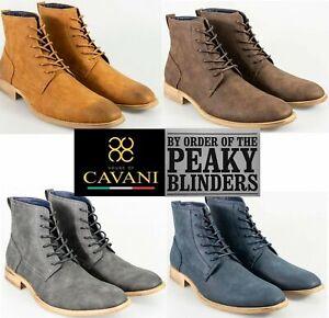 Mens Cavani Lace Up Peaky Blinders Chelsea Ankle Boots Tan Navy Brown Grey