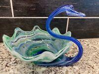 Vtg Cobalt Blue Green Swirl Murano Style Hand Blown Art Glass Swan Bowl Dish