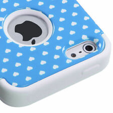Apple iPhone 5 Rubber IMPACT TUFF HYBRID Case Skin Phone Cover Blue Heart Dots