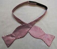 Bow Tie MENS Self Tie Dickie Bowtie Vintage Burgundy White Club Striped 1990s