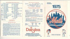 NY Mets baseball 1975 season official schedule Lady Met Mr Met Dairylea WOR WNEW