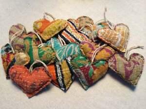 Set 5 Kantha Heart Pillow Valentines Ornaments Handmade Christmas Xmas Holiday