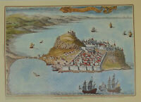 Castles of Greece Monemvasia Castle Fortress Engraving Poster 34 x 49 cm # 8